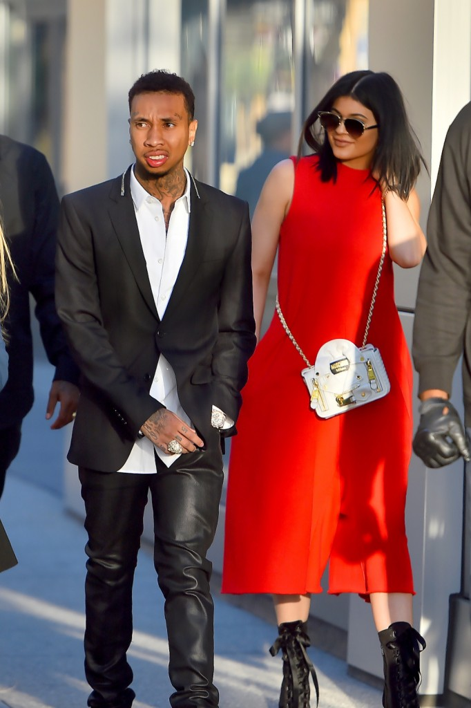 Kylie Jenner and Tyga head out to see a movie in downtown Los Angeles Pictured: Kylie Jenner and Tyga Ref: SPL1048774  080615   Picture by: Fern / Splash News Splash News and Pictures Los Angeles:	310-821-2666 New York:	212-619-2666 London:	870-934-2666 photodesk@splashnews.com