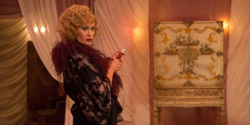 "In this image released by FX,  Jessica Lange appears in a scene from ""American Horror Story: Freak Show."" Lange was nominated for a Golden Globe for best actress in a TV movie or mini-series for her role on Thursday, Dec. 11, 2014. The 72nd annual Golden Globe awards will air on NBC on Sunday, Jan. 11. (AP Photo/FX, Michele K. Short)"