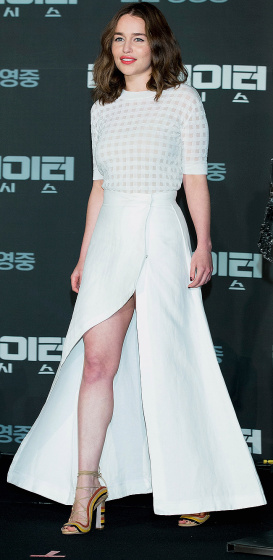 """SEOUL, SOUTH KOREA - JULY 02:  Actress Emilia Clarke attends the press conference for """"Terminator Genisys"""" on July 2, 2015 in Seoul, South Korea. The film will open on July 02, in South Korea.  (Photo by Han Myung-Gu/WireImage)"""