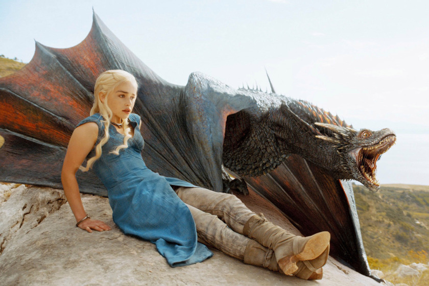GAME OF THRONES, Emilia Clarke (left), 'Two Swords', (Season 4, ep. 401, aired April 6, 2014). photo:  © HBO / Courtesy: Everett Collection